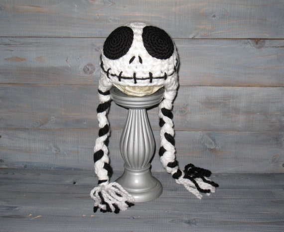Newborn Jack Skellington Nightmare Before Christmas crochet hat with braids, Tim Burton, photo prop