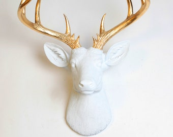 Faux Taxidermy Deer, The XL Alfred, White & Gold decor by White Faux Taxidermy deer head wall mount