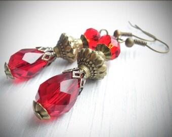 SALE 30%! Red Earrings Victorian Earrings Teardrop Earrings Scarlet Red Drop Antique Brass