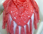 Coral Shawl with Fringe, Crochet Baktus, Handmade Shawl, Triangle Scarf, Hippie Shawl, Boho Shawl, Vegan Shawl, Gifts for Her, Ready to Ship