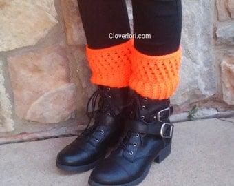 Crochet Boot Cuffs -Bright Neon Orange- Boot Toppers, Leg Warmers, Leg Cuffs, Boot Sleeve, Ribbed, X-stitch, Halloween