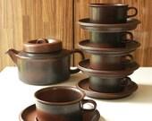 Arabia Ruska Coffee Cups and Saucers x Set of 5 Ulla Procope