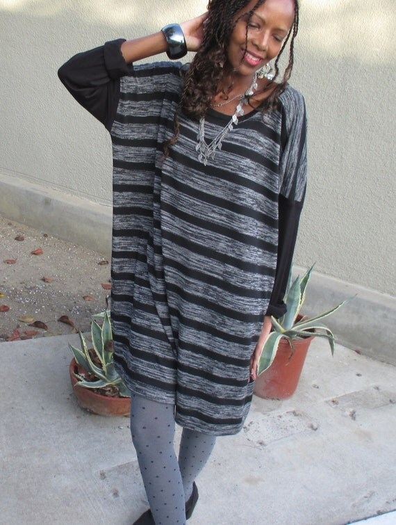 Black / Gray Stripe Textured Over Sized Crew Neck Sweater / Tunic - Cozy Long Sleeve Color Block Cotton Knit Sweater Dress  - All Sizes