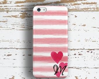 Unique gift for daughters, Monogram Iphone 4s case, Cute Iphone 5c case, Pink iPhone 5 case, Girls iPhone 6+ case Pretty Watercolor (1367P)