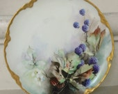 Vintage Hand Painted French Plate. Wall Hanging. French Cottage Decor. Shabby Chic