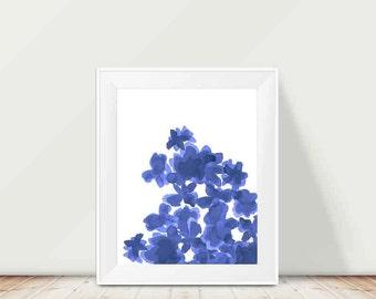 Navy Blue Painting, 11x14 Indigo Watercolor Print, Watercolor Painting, Navy Blue Decor, Midnight Blue Art, Navy Wall Decor, Indigo Garden
