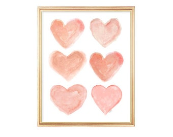 Coral Girls Room Decor, Coral Heart, 8x10 Watercolor Print, Coral Nursery Decor, Peach Nursery Art, Peach Nursery Decor, Heart Art, Peach