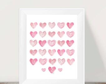 Alphabet Print, ABC Nursery, Alphabet Letters, Pink Nursery Art, abc's, Watercolor abc wall art, Playroom Art, Toddle Wall Decor, Pink ABC