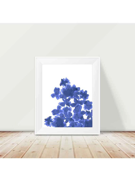 Indigo Flowers Watercolor Print in 11x14