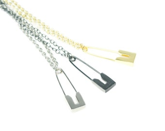 Safety Pin Necklace Large Charm Long Metallic Chain