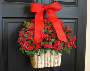 valentine wreath Valentine's Day wreaths for front door wreaths spring roses birch bark vases decorations, red pink roses spring wreath