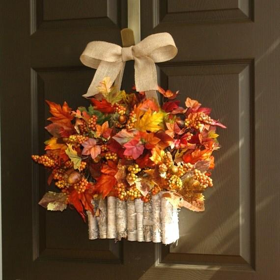 Autumn Door Decorations Orange Door : Items similar to fall wreaths welcome autumn