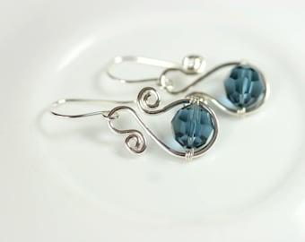 Dark Blue Swarovski Crystal Earrings Wire Wrapped Jewelry Handmade Sterling Silver Jewelry Handmade Swarovski Crystal Earrings