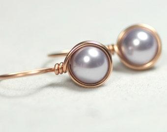 Rose Gold Lavender Pearl Earrings Wire Wrapped Jewelry Handmade Rose Gold Earrings Lavender Earrings Pearl Drop Earrings Swarovski Pearl
