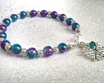 Frozen Inspired Miracle Bead Bracelet with Snowflake Charm