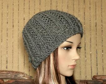 Knit Hat, Womens Hat, Wool Beanie, Skull Cap, Hand Knit  Dark Grey Beanie, Australia