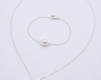 Bridesmaid Pearl Jewelry Set, Sterling Silver Necklace and Bracelet Set with Swarovski Pearls 0169