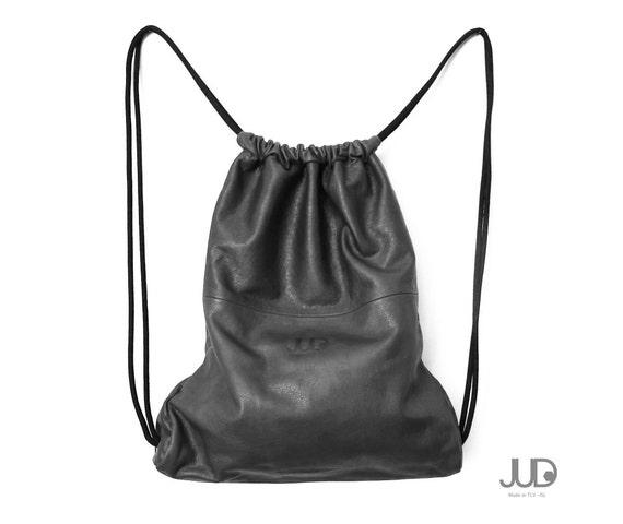 Borse A Sacco In Pelle : Zaino in pelle di cuoio grigio multi sacco