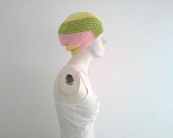 Pastel Vortex Slouchy Beanie, Womens Handknit Hat, Spring Colors, Warm & Cozy, Gifts for Her, Multicolor Beanie, Fashion, Spring Fall Winter