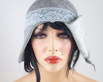 Felted Hat ETHNO BEAUTY Art Hat Gray Wild hat hats Felt wearable art Nunofelt Nuno felt