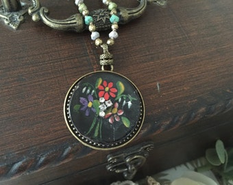 Hand Painted Floral Pendant , Antique Button Jewelry , Upcycled Necklace ,  Red Flower Pendant , Beaded Chain by VintageRedo