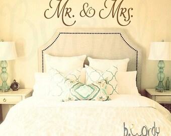 Sm, Med, & Lg - Mr. and Mrs., Vinyl Decal- Wall Art- Master Bedroom, Decor