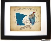Birthday Gift For Grandma: Valentine Gift For Grandparents Long Distance Map Print Close At Heart Quote Two-State Map Print Present