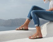 Gold Lace up Greek Sandals, Available in 6 colors, handmade of genuine leather, Unique design, DANAE