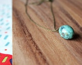 minimal 'robin egg' czech glass bead 26 inch necklace