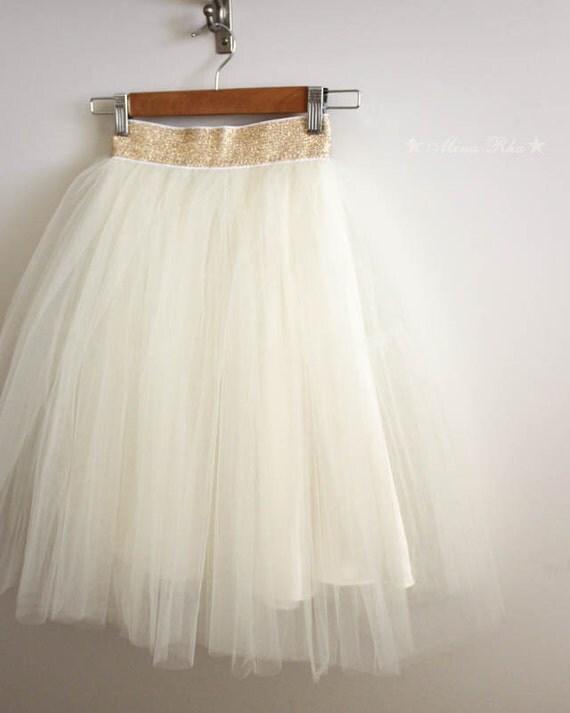 jupe tutu tulle ivoire pour femmes ceinture or par minarha sur etsy. Black Bedroom Furniture Sets. Home Design Ideas