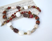 Rustic Stone Necklace Tennessee Country Girl Jasper VintageTex Mex Gypsy  Dark Amber Rustic Necklace Fall Colors Stars