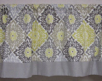 Window curtains. Kitchen curtains. Window valance. Grey and yellow