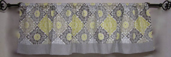 Great Items Similar To Window Curtains. Kitchen Curtains. Window Valance. Grey  And Yellow Valence. Kitchen Valance. Grey And Yellow Medallion Fabrics. On  Etsy