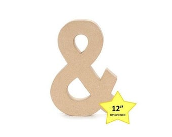 12 Inch Paper Mache Cardboard Letters - Ampersand - Paper Craft Party Decor Supplies