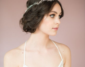 Silver Twig Crown, Crystal Halo, Crystal Crown, Pearl Headband, Pearl Hair Band, Wedding Crown, Wire Crown, Silver Headband, JANET