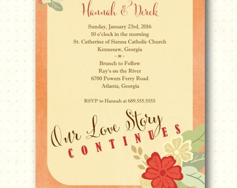 Vow Renewal Invitation, classy, modern, fall theme, anniversary, 10th, 20th, 25th, 30th, 40th, 50th, invite, digital, printable, V1014