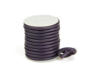 5mm Round Leather Cord, English Violet Genuine Leather Cord For Bracelet Findings, Pkg of 10 ft., D0F8.EV39.L10F