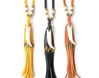 Boho Jewelry Leather Fringe Necklace Long Tassel Necklace Bone Tusk Necklace - Gypsy Jewelry Bohemian Jewelry Tribal Jewelry Tooth Necklace