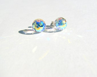 Sterling Silver Ball, Swarovski Crystal AB Earrings, Clear Crystal Ball Earrings, Sterling Posts, Sparkle Ball Earrings, Disco Ball, Rainbow