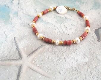 Stunning Rhodonite Bracelet with Fresh Water Pearls / Gift for Her / Handmade Rhodonite Bracelet / Womens Gift / Christmas Gift