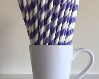 Purple Striped Paper Straws Party Supplies Party Decor Bar Cart Cake Pop Sticks Mason Jar Straws  Party Graduation