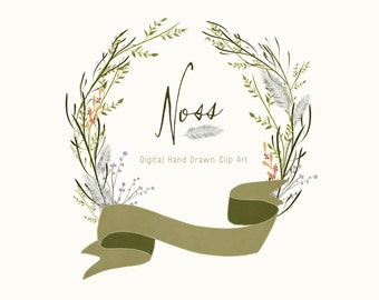 Digital Hand Drawn Foliage Clip Art - Noss