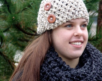 Knitted Ear Warmer Headband with Wood Buttons- Handmade Wool Blend Chunky Cozy in Oatmeal