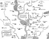 Fantasy maps of Midwestern cities: Indianapolis, Springfield IL, Tulsa, Wichita, Fort Wayne