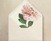 Blush Pink Peony Envelope Liners DIY Garden Wedding Invitations
