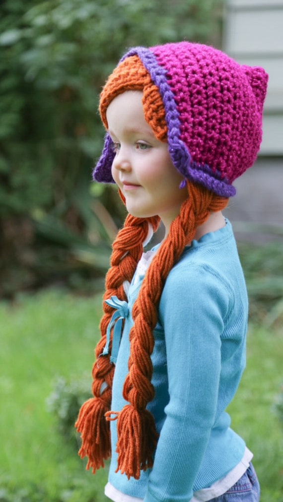 Free Crochet Pattern For Anna Hat : Anna Crochet wig hat with Braids by YellowSpotDesigns on Etsy