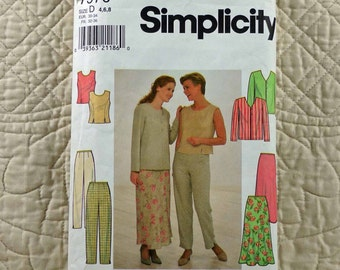 Jacket Top Pants Skirt, XS S, Simplicity 7970 Pattern, V Neck, Princess Seams, Zipper, 1997 Uncut, Size 4 6 8
