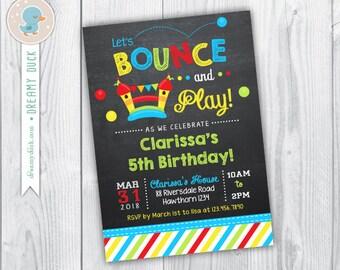 Bounce House invitation / Bounce House Birthday Invitation / Chalkboard / Ball Pit Birthday Invitation / Ball Pit Invitation / Printable DIY