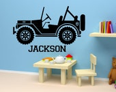 Personalized Name Decal boy's Nursery Room kid's bed room Wall Decal Car Jeep Vinyl Sticker Wall Decor Home Interior Design Art Mural  AS@70