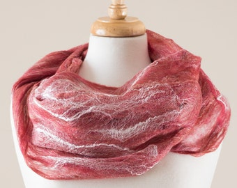Felted scarf, infinity scarf, Cobweb Felted Scarf, Red merino wool and silk fibres, Lace, Hole, lattice scarf, light weight